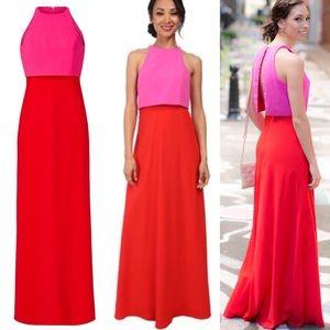 Jill Stuart Red & Pink Sleeveless Maxi Dress